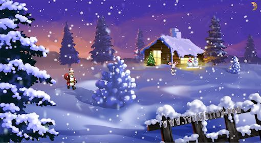 Animated wallpaper Santa Claus in the country